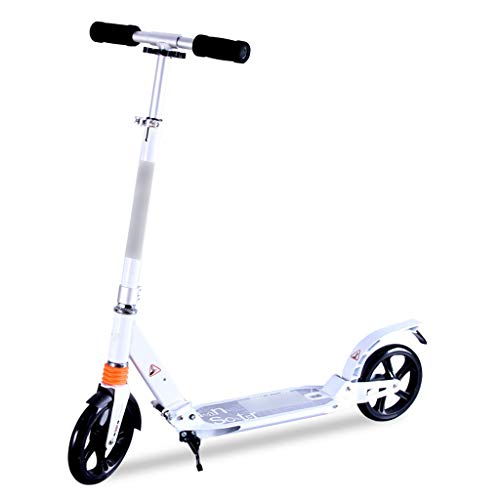 Lowest Price! Kick Scooters Adult Children Scooter Two-Wheeled Scooter Foldable/Adjustable Scooter for People Aged 6-30 Using (Color : White)
