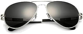 نظارة شمسية رجالية فيثيديا مصنوعة من اللألمنيوم والماغنسيوم, عدسات مبلورة سوداء وإطار فضي