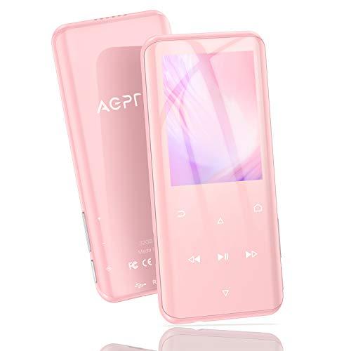 AGPTEK 32GB MP3 Player Bluetooth 5.0 mit 2,4 Zoll TFT Farbbildschirm, HiFi Musik Player mit Lautsprecher, Touch-Tasten, UKW-Radio, Aufnahme, Schrittzähler, Unterstützung bis zu 128 GB, Rosa