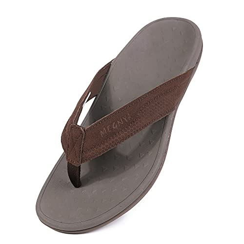 Mens Thong Sandals Suede Flip Flops with Orthotic Arch Support for Plantar Fasciitis Flat Feet Heel Pain Brown Size 9.5