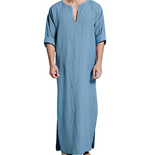 KKXY Robes Bata de algodón de Lino con Cuello en V para...