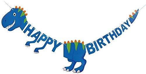 2M Banner de Feliz Cumpleaños de Dinosaurio Banner de Dinosaurio para Decoración Niños Feliz Cumpleaños Decoracion Banderines y guirnaldas(Azul)