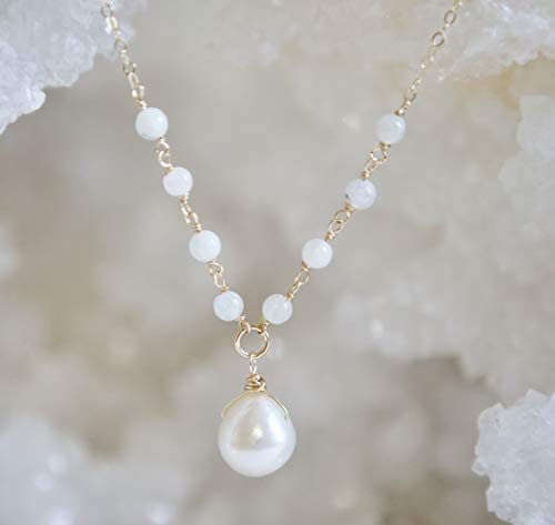 Moonstone and Freshwater-Culture Pearl Necklace - 18' Length