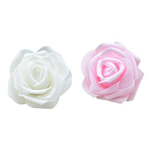 perfk 100 Stück Schaum Rose Köpfe Künstliche Blume Brautstrauß Hochzeitsfeier - Creme + Rosa