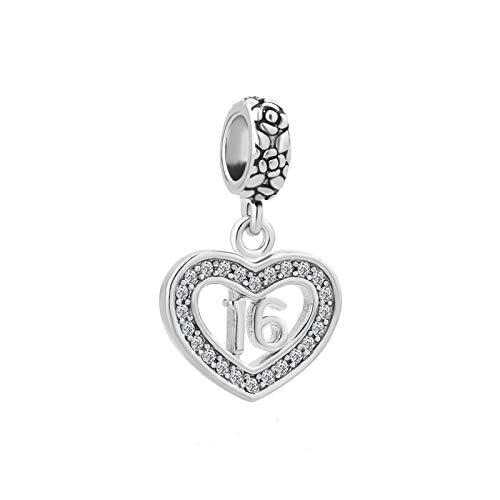 MiniJewelry 16th Birthday Love Heart Dangle Charm for Bracelets fits Pandora Charms Bracelets Women Wife Daughter Sister Gift Anniversary