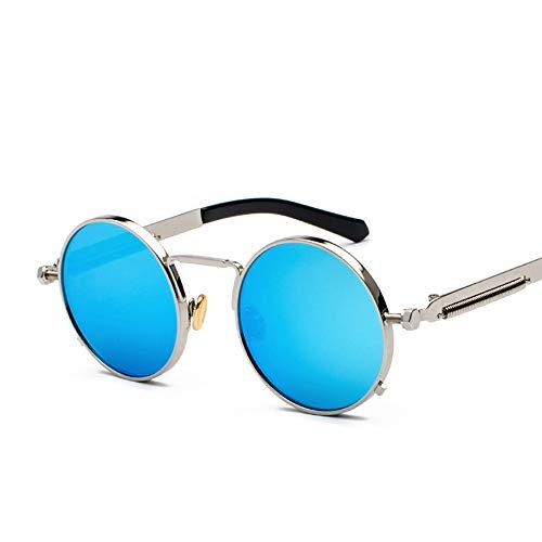 JECIKA Gafas de sol para mujer y hombre, estilo vintage, punk, de metal, con marco redondo, protección UV400, ojo de gato, marco de metal, para mujer, moda, gafas de sol, lentes de espejo, para mujer.