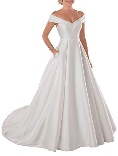 Women's A Line Long Wedding Dress Off The Shoulder Satin Bridal Dresses for Bride White US18W