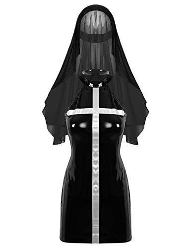Yeahdor Damen Nonne Kostüm Lack und Leder Dessous Sexy Minikleid Neckholder Kleider mit Chiffon Kopfdeckung Ledernonne Uniform Cosplay Schwarz Small