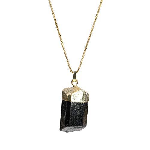 coai Irregular Raw Black Tourmaline Stone Pendant Necklace for Men Women 50cm