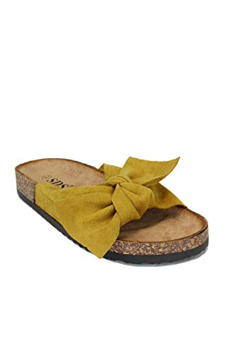 irisaa Bunte Pantoletten Sandalen mit Schleifen oder Blumen zum Sommer, Schuhgröße 36-41:38, 2019 Patoletten Farbe (1):Yellow New