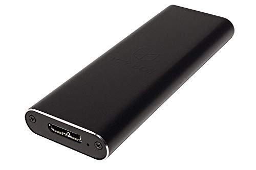 Icy Box IB-183M2 Externes Gehäuse für 1x M.2 SSD B-Key & B+M-Key (22 x 30/42/60/80 mm), USB 3.0 (UASP) Anschluss, SATA III, Aluminium, schwarz