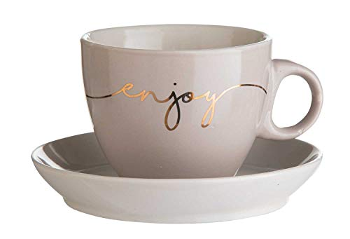 Home4You Cappuccinotasse mit Untertasse Kaffeetasse   Bone China   Grau   220 ml