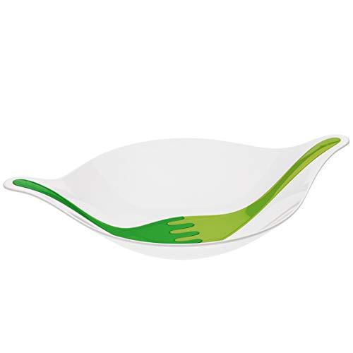 Koziol Leaf L+ Saladier avec couverts intégrés Blanc/vert 3 l