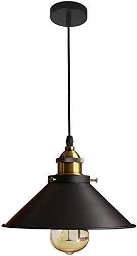 Lámparas de decoración del hogar Lámpara colgante industrial vintage Lámpara colgante de sombra de hierro negro Soporte E27 Lámparas de suspensión ajustables en altura para comedor Cocina Banco d