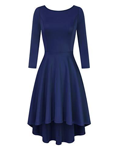 Clearlove Damen Kleider Elegant Spitzenkleid 3/4 Ärmel Cocktailkleid Rundhals Knielang Rockabilly Kleid,Navy,L