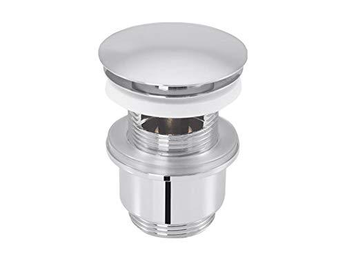 tecuro Pop Up Ventil Ablaufgarnitur mit Push-Druckfunktion für Waschtische mit Überlauf - messing-verchromt