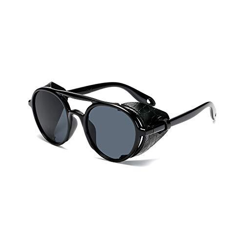 WJFDSGYG Steampunk Sonnenbrille Männer Frauen Leder Mit Seitenschutz Stil Runde Sonnenbrille Damen Coole Brille Uv400
