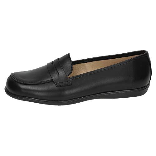 ANGELITOS 466 Mocasines DE Piel NIÑA Zapato COLEGIAL Negro 36