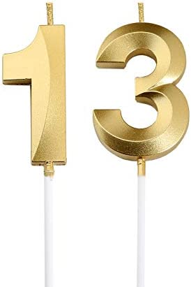 Bailym 13th Birthday Candles Gold Number 13 Cake Topper for Birthday Decorations Party Decoration product image