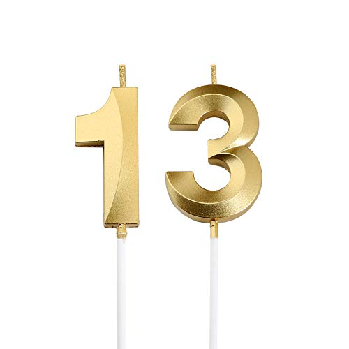 13th Birthday Candles,Gold Number 13 Cake Topper for Birthday Decorations Party Decoration