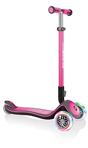Globber Mädchen Elite Deluxe, pink mit Leuchtrollen Scooter, One Size