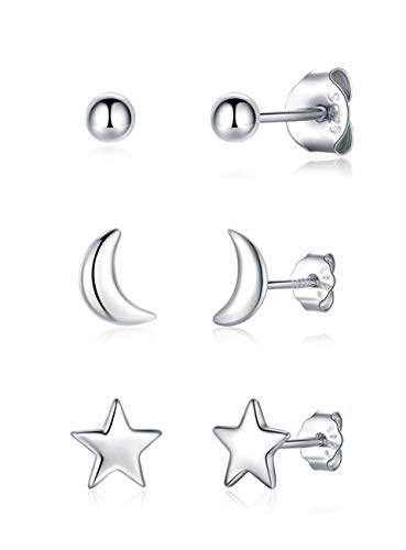 Gulicx 3 Pairs Silver Stud Earrings Set for Women Girls, Hypoallergenic 925 Stering Silver Tiny Round Ball Star Moon Stud Earring,Small Sleeper Cartilage Helix Studs Earrings Set