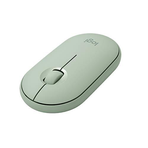 Logitech M350 Pebble Kabellose Maus, Bluetooth und 2.4 GHz Verbindung via Nano USB-Empfänger, 18-Monate Akkulaufzeit, 3 Tasten, Leises Klicken und Scrollen, PC/Mac/iPadOS - Eukalyptus
