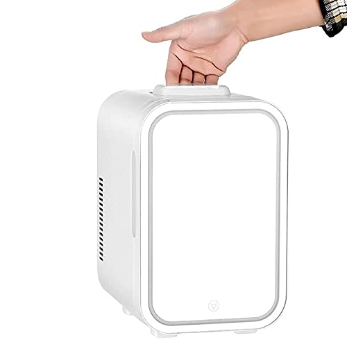 Mini Nevera De 8 litros, Maquillaje Portátil para El Cuidado De La Piel Mini Refrigerador + Luz LED Regulable para Espejo De Maquillaje, para Automóviles Hogares Oficinas Dormitorios