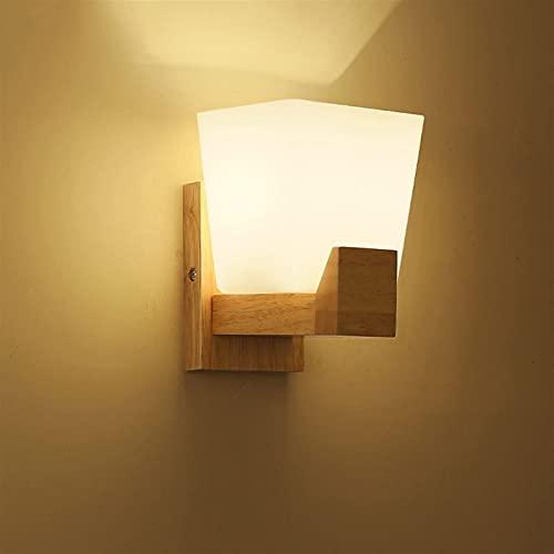 Lámpara de pared de pasillo de pasillo de doble cabeza de madera maciza moderna simple romántica y cálida DIRIGIÓ Luz de pared de noche de dormitorio Durable y hermosa Lámpara de pared de succión Lech