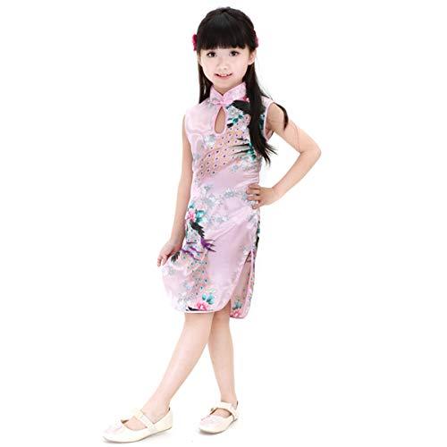 HaiQianXin Vestido de niña Chino sin Mangas con Estampado de Pavo Real...