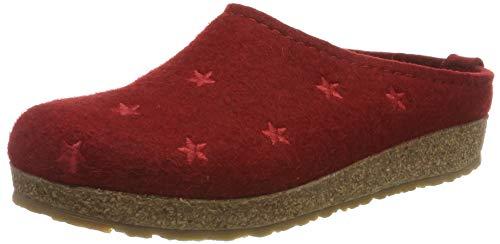 HAFLINGER Grizzly Stelline, Pantofole Donna, Rosso (Paprika 42), 36 EU