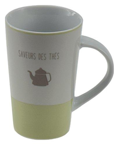 Incidence Paris 54649 MUG Haut - Saveur des thés, Porcelaine, Vert Tilleul, 8 x 11,5 x 12,7 cm