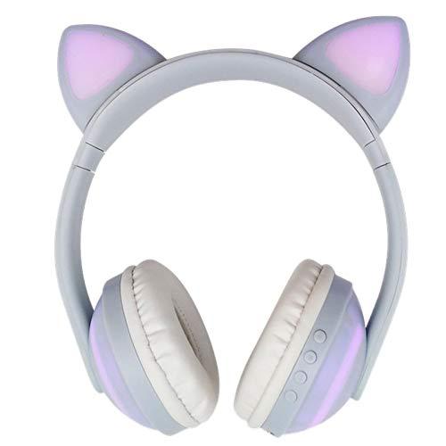 SFBBBO Auriculares Auriculares estéreo inalámbricos con luz LED Colorida con Oreja de Gato Brillante con Bluetooth, Auriculares para Juegos para Mujeres, Regalos, Azul