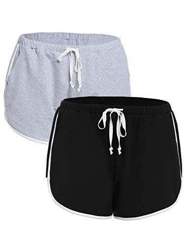 iClosam Pantaloncini Sportivi Cotone Donna, Pantaloni Pigiama Corti Confortevole e Traspirante Pantaloni per Yoga Jogging Sport Fitness Casual Sonno (Nero+Grigio,L)