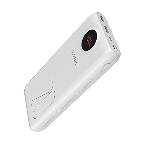 ROMOSS モバイルバッテリー 20000mAh 大容量 PD3.0対応 QC3.0対応 18W急速充電 3USB出力ポート Type-C入出力 携帯充電器 ポータブル充電器 スマホ充電器 最大出力18W LCD残量表示 3台同時充電可能 PSE認証済み iPhone/Android/Galaxy/Xperia/Huawei対応 SW20 Pro(ホワイト)
