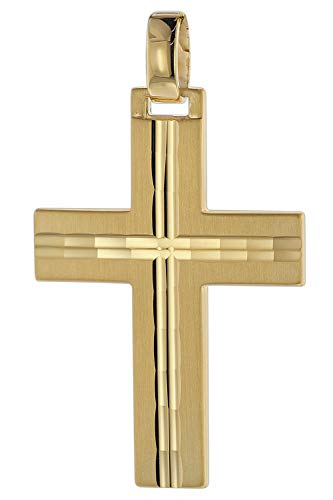 trendor Kreuz-Anhänger für Männer 585 Gold 32 mm Herren Goldanhänger, modischer Kreuzanhänger, zeitlose Geschenkidee, eleganter Schmuck aus Echtgold 08823