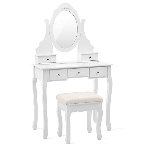 SONGMICS Vanity Set with Mirror and Stool Makeup White Dresser