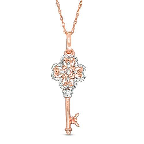 Colgante de 1/10 ct T.W. Clave de trébol de diamante transparente para mujer de 45,72 cm en plata de ley 925 chapada en oro rosa de 10 quilates