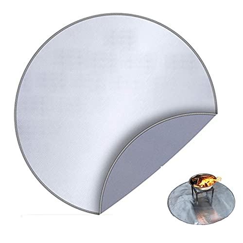 LJIANW-lonas impermeables exterior, Fibra De Vidrio Manta De Soldadura, Forma Redonda Cobija Extintora Revestimiento De Papel De Aluminio por Parilla Protección del Césped, 2Tamaños