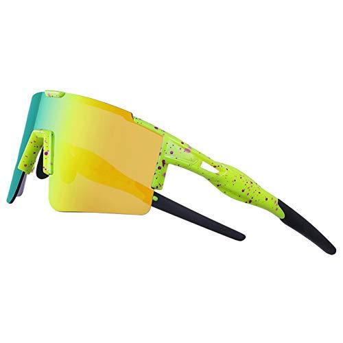 HSTFR Gafas de ciclismo Gafas de sol deportivas polarizadas - Protección UV400 TR90 Marco superligero Gafas de bicicleta para hombres Mujeres Deporte al aire libre Golf Esquí Correr Conducción