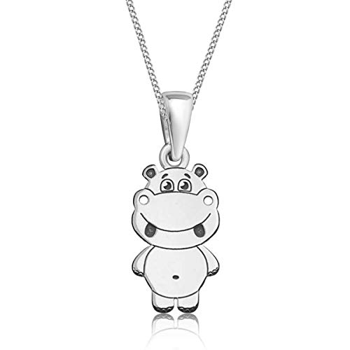 Gravur kleine Tiere Anhänger mit Halskette 925 Echt Silber Mädchen Kinder (9) Hippos / 25x8mm, 38)