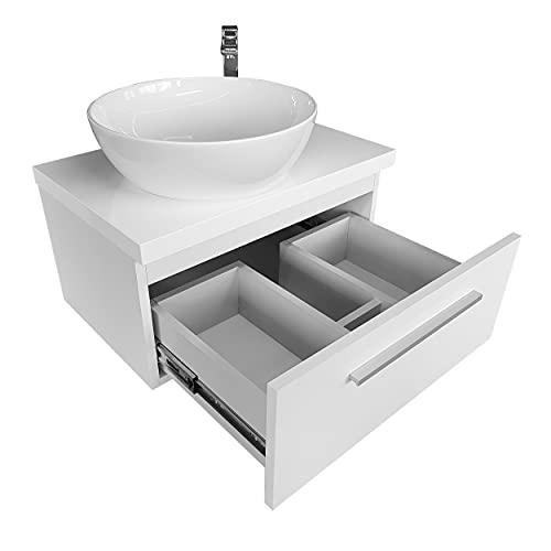 Lavabo de baño con armario bajo lavabo con placa, 80 cm, ovalado, de cerámica, color blanco