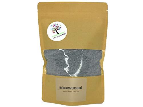 KERZENSAND Wachsgranulat 400g inkl. 3 Docht - Palmwachs Kerzengranulat - universal einsetzbar - kreativ - vielseitig - dekorativ - Farbe: Grau