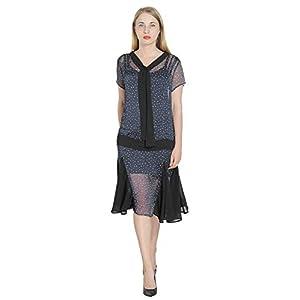 Marycrafts Women't Drop Waist 1920s Lined Floral Godet Vintage Dress XXL Light pink