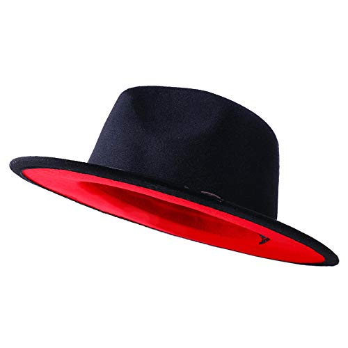 Eric Carl QIUBOSS Trend Red Black Patchwork Wool Felt Jazz Fedora Hat Casual Men Women Leather Band Wide Brim Felt Hat