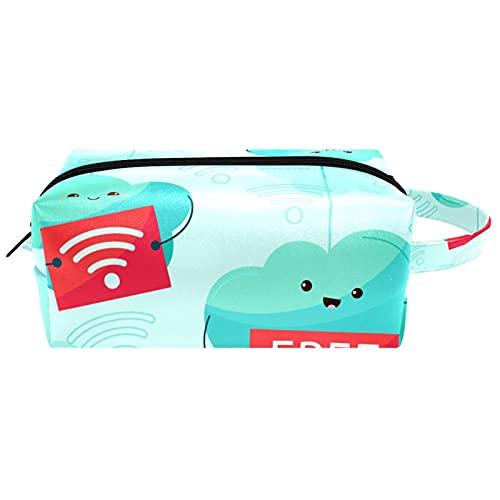 化粧ポーチ化粧鞄トイレタリー鞄化粧ポーチ化粧ポーチ大容量ポータブルオーガナイザー面白い無料のWiFi雲のデザイン 女性用バッグ用