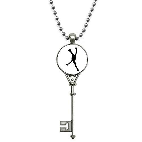 Beauty Gift Colar vintage com pingente de jogador de patinação para esportes educação física e chaveiro de prata