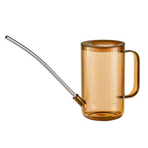 Xzbnwuviei Hervidor de agua transparente de boca larga de acero inoxidable de 1 L, para interior de plástico de 1 litro, boquilla larga, maceta para jardín, casa, bonsái, plantas suculentas