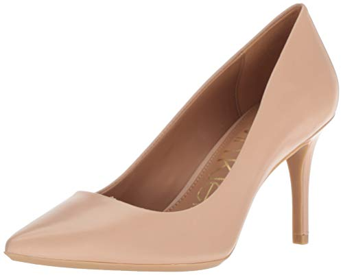 Calvin Klein Women's Gayle Pump, Desert Sand Leather, 7 Wide US