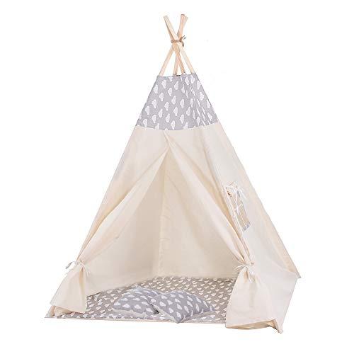 Kinder Teepee Tipi Zelt Wigwam mit Bodenmatte aus Baumwolle Kinderzelt Kinderzimmer Kinderspielzelt Indianer Spieltipi Kuschelecke 160*120*100 cm Groß (Grau/Wolken)